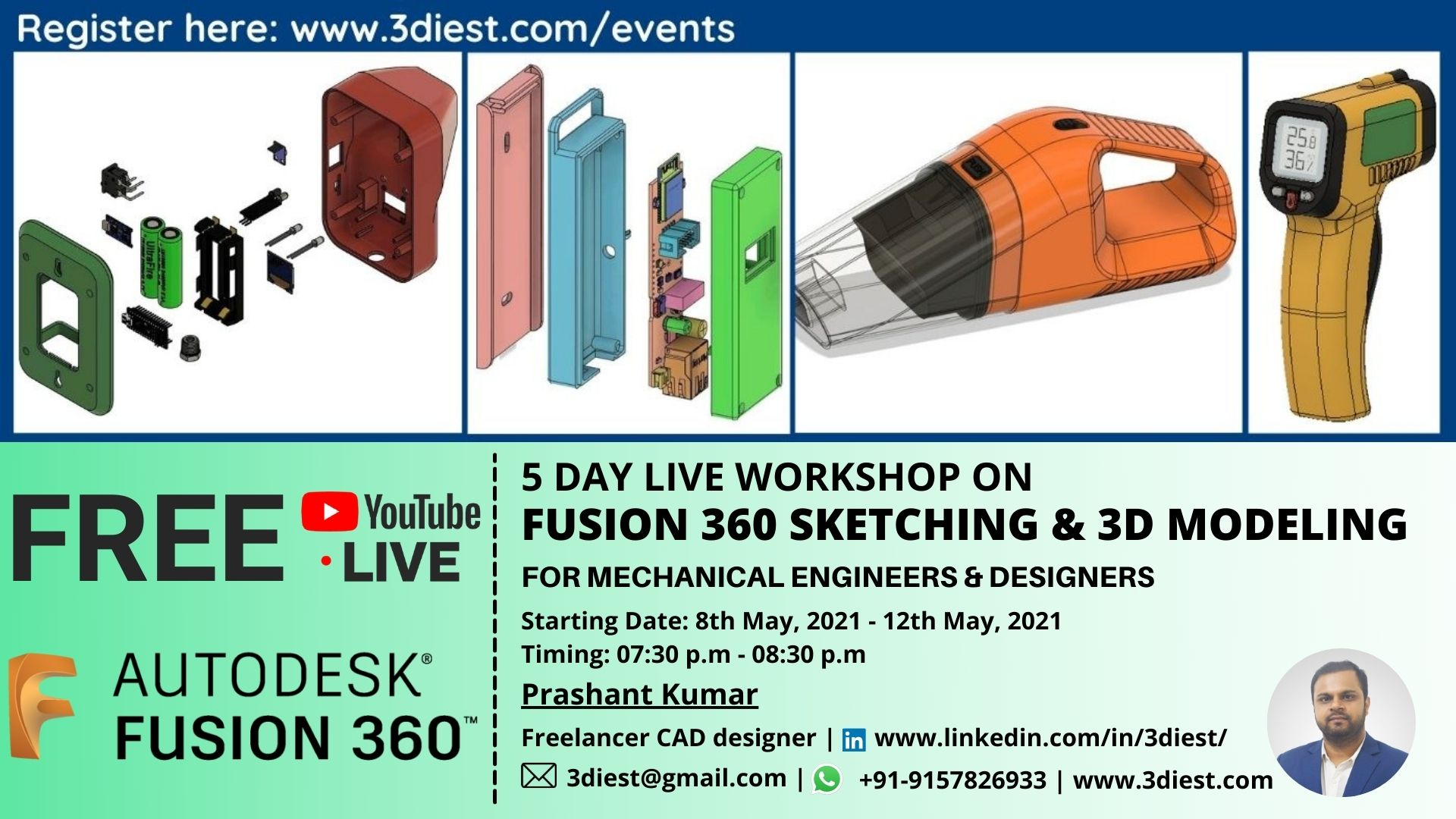 Fusion 360 Sketching and 3D modeling Free 5 day workshop